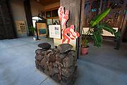 Interpretive display at Puukohola Heiau National Historic Site, Kohala Coast, The Big Island, Hawaii USA