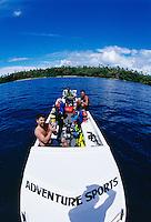 Dive boat off the island of Gizo, Solomon Islands.