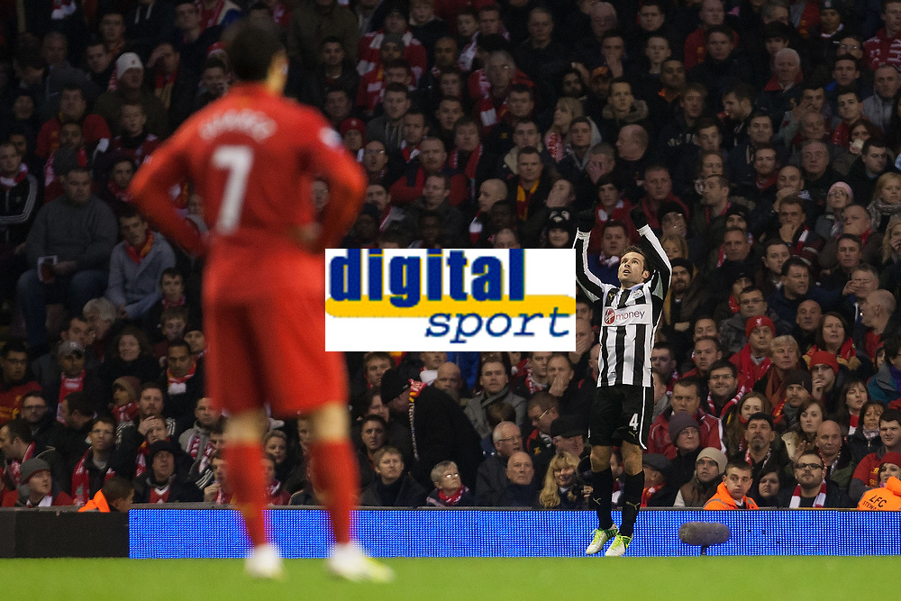 Football - 2012 / 2013 Premier League - Liverpool vs. Newcastle United<br /> Yohan Cabaye of Newcastle United celebrates his opening goal at Anfield