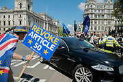 Steve Bray of pro remain protest group<br /> Stand of Defiance European Movement, shouts at a government ministers car going into the Houses of Parliament in central London, England, United Kingdom on 21st May 2019. Britain will take part in the European Parliament election being held in two days time.