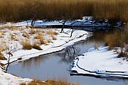 A meandering river covered in snow in Japan,Tsurui, Hokkaido, Japan