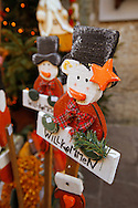 Hand crafted christmas decorations on the market stalls of Salzburg Christmas market Austria