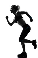 one woman  running runner sprinting workout fitness aerobic exercise posture on studio isolated white background