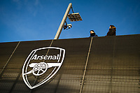 Football - 2019 / 2020 Premier League - Arsenal vs. Manchester City<br /> <br /> A detail of the Arsenal badge outside the stadium, at The Emirates.<br /> <br /> COLORSPORT/ASHLEY WESTERN