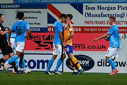 Finley Burns of Manchester City headbutts Jimmy Knowles of Mansfield Town - Mandatory by-line: Ryan Crockett/JMP - 08/09/2020 - FOOTBALL - One Call Stadium - Mansfield, England - Mansfield Town v Manchester City U21 - Leasing.com Trophy