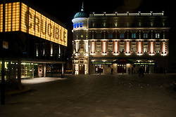 Crucible and Lyceum Theaters light up for the evening viewed from Norfolk Street in Sheffield<br /> <br /> 8 November 2012<br /> Image © Paul David Drabble