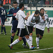 Besiktas's Manuel Fernandes (R) celebrate his goal with team mate during their UEFA Europa League Group Stage Group E soccer match Besiktas between Stoke City at Inonu stadium in Istanbul Turkey on Wednesday December 14, 2011. Photo by TURKPIX