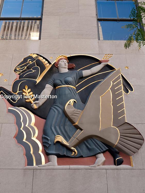 Art Deco decoration on facade of Rockefeller Center in Manhattan in New York City USA
