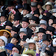 Large crowds watch the races during the race meeting at Royal Ascot Race Course. Royal Ascot is one of the most famous race meetings in the world, frequented by Royalty and punters from the high end of society to the normal everyday working class. Royal Ascot 2009, Ascot, UK, on Tuesday, June 16, 2009. Photo Tim Clayton.