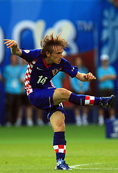 Luka Modric of Croatia during the UEFA EURO 2008 Group B soccer match between Austria and Croatia at Ernst-Happel Stadium, on June 8,2008, in Vienna, Austria.  (Photo by Vid Ponikvar / Sportal Images)