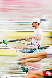 August 3, 2018 - Glasgow, UNITED KINGDOM - 180803 An athlete of Serbia competes in the Men's Rowing Four repechage during the European Championships on August 3, 2018 in Glasgow..Photo: Jon Olav Nesvold / BILDBYRN / kod JE / 160281 (Credit Image: © Jon Olav Nesvold/Bildbyran via ZUMA Press)