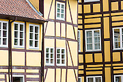 Medieval buildings in Claus Bergs Gade in the old town in Odense on Funen Island, Denmark