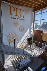 Construction to house nursing in the former Garfield Book store, Thursday, July 30, 2020, at PLU. (Photo/John Froschauer)