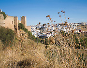 Outside the old city walls looking towards newer part of Ronda, Spain