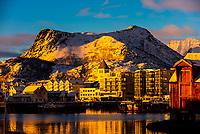 View over the harbor, Svolvaer, on Austvagoya Island, Lofoten Islands, Arctic, Northern Norway.