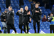 Eddie Howe, the Bournemouth manager (c) celebrates after the final whistle. Barclays Premier league match, Chelsea v AFC Bournemouth at Stamford Bridge in London on Saturday 5th December 2015.<br /> pic by John Patrick Fletcher, Andrew Orchard sports photography.
