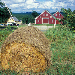 New Gloucester, ME.A bale of hay in a field near the barn at the Sabbathday Lake Shaker Village.