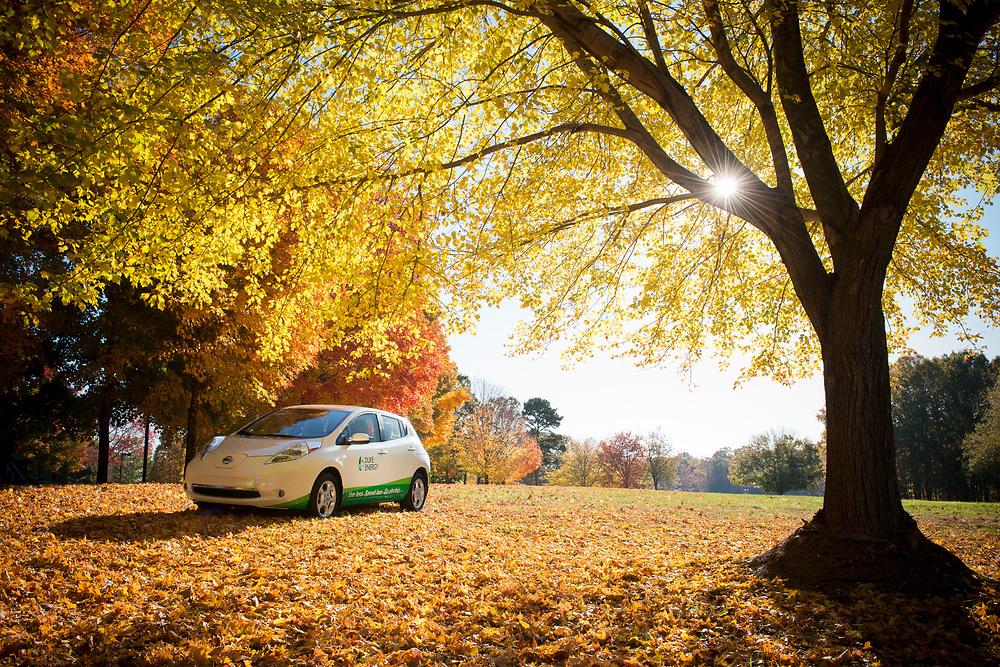 Duke Energy Branded LEAF Electric Vehicle in Fall