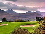 The elevated 13th par 5 hole on the Mahonys Point Course at Killarney Golf Club Ireland overlooked by Ireland's highest mountain Carrauntoohill.<br /> Picture by Don MacMonagle -macmonagle.com