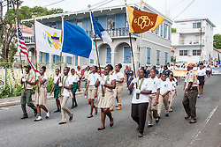 The Girl Scouts march to Franklin D. Rooselvelt Park.  St. Thomas Memorial Day Ceremony and Parade.  Franklin D. Roosevelt Veterans Park.  St. Thomas, USVI.  30 May 2016.  © Aisha-Zakiya Boyd