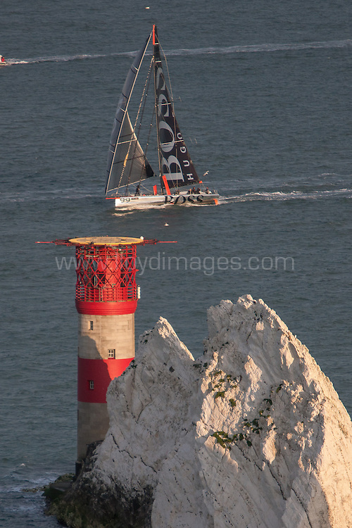 J.P.Morgan Asset Management Round the Island Race 2013.<br /> Picture showing the Hugo Boss IMOCA Open 60 during the round the island race.