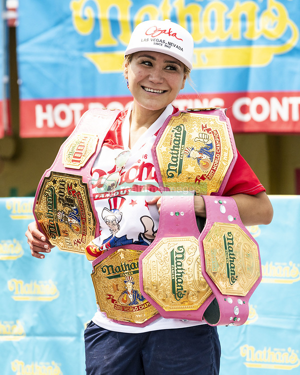 July 4, 2018 - Brooklyn, New York, U.S. - MIKI SUDO ate 37 hot  dogs and buns in ten minutes  to win the women's division of the 2018 Nathan's Famous International Hot Dog Eating Contest in Coney Island in Brooklyn. (Credit Image: © Michael Brochstein via ZUMA Wire)