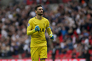 Hugo Lloris, the Tottenham goalkeeper celebrates Tottenham's first and only goal of the match.<br /> Premier league match, Tottenham Hotspur v AFC Bournemouth at Wembley Stadium in London on Saturday 14th October 2017.<br /> pic by Kieran Clarke, Andrew Orchard sports photography.
