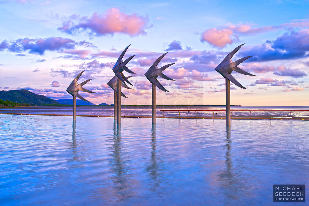 The Fish Sculptures captured at sunrise.<br /> <br /> Open Edition Print / Stock Image
