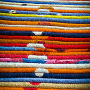 Colourful carpets in a Khan el-Khalili shop. Cairo, Egypt.