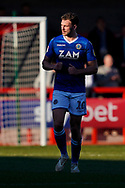 Goal scorer Harry Smith of Macclesfield Town looks back to Macclesfield Town manager Sol Campbell after scoring, Crawley Town 0-1 Macclesfield Town during the EFL Sky Bet League 2 match between Crawley Town and Macclesfield Town at The People's Pension Stadium, Crawley, England on 23 February 2019.