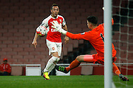 Santi Cazorla of Arsenal shoots wide of the goal.  U21 Barclays Premier league play off final match, Arsenal U21's v Aston Villa U21's at the Emirates Stadium in London on Tuesday 10th May 2016.<br /> pic by Steffan Bowen, Andrew Orchard sports photography.