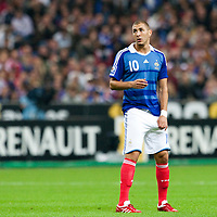 05 September 2009: French player Karim Benzema is seen during the World Cup 2010 qualifying football match France vs. Romania (1-1), on September 5, 2009 at the Stade de France stadium in Saint-Denis, near Paris, France.