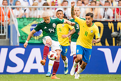 July 2, 2018 - Samara, Russia - 180702 Javier Hernandez of Mexico and Philippe Coutinho of Brazil during the FIFA World Cup round of 16 match between Brazil and Mexico on July 2, 2018 in Samara..Photo: Petter Arvidson / BILDBYRÃ…N / kod PA / 92081 (Credit Image: © Petter Arvidson/Bildbyran via ZUMA Press)