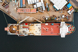 Port Glasgow, Scotland, UK. 20th August 2021. Latest views  rom drone of the Caledonian Macbrayne ferry Glen Sannox under fabrication at Ferguson Marine shipyard in Port Glasgow on the lower Clyde. Iain Masterton/Alamy Live News