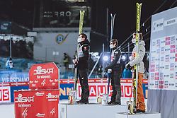 06.01.2021, Paul Außerleitner Schanze, Bischofshofen, AUT, FIS Weltcup Skisprung, Vierschanzentournee, Bischofshofen, Bischofshofen, Finale, Siegerehrung, im Bild Tagessieger Kamil Stoch (POL), 2. Platz Marius Lindvik (NOR), 3. Platz Karl Geiger (GER) // Winner Kamil Stoch of Poland 2nd placed Marius Lindvik of Norway 3rd placed Karl Geiger of Germany during winner ceremony for the final of Four Hills Tournament of FIS Ski Jumping World Cup at the Paul Außerleitner Schanze in Bischofshofen, Austria on 2021/01/06. EXPA Pictures © 2020, PhotoCredit: EXPA/ JFK