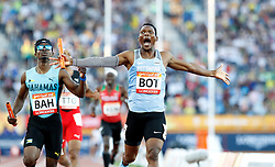Botswana's Isaac Makwala celebrates winning gold in the Men's 4 x 400m Relay Final at the Carrara Stadium during day ten of the 2018 Commonwealth Games in the Gold Coast, Australia.