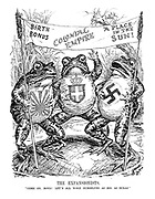 """The Expansionists. """"Come on, boys! Let's all make ourselves as big as bulls."""" (Japan, Italy and Germany as Bullfrogs holding a banner of slogans 'Birth Bonus', 'Colonial Empire' and 'A Place in the Sun' while standing on a lillypad map of the world)"""