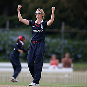 Charlotte Edwards the England Captain celebrates a wicket during the match between England and New Zealand in the Super 6 stage of the ICC Women's World Cup Cricket tournament at Bankstown Oval, Sydney, Australia on March 14 2009, England won the match by 31 runs. Photo Tim Clayton