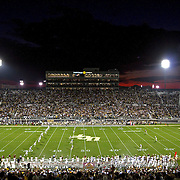 The opening kickoff of an NCAA football game between the Boston College Eagles and the UCF Knights at Bright House Networks Stadium on Saturday, September 10, 2011 in Orlando, Florida. (AP Photo/Alex Menendez)