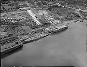 """Ackroyd_00081-92. """"Zidell Machinery. June 13, 1947. aerial. Commercial Iron Works."""" (Zidell, Schnitzer, south Waterfront)"""