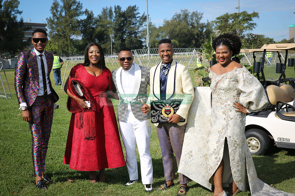 07062018 (Durban) Andile Mpisani, Dj Tira, Shaun Mpisani and Chuene arriving in style the adrenaline of Vodacom Durban July flowing like water among the massive crowd expected at Greyville Racecourse in Durban for the running of the R4.25 million, Grade 1, Vodacom Durban July, the greatest racing, fashion and entertainment extravaganza on the African continent.<br /> Picture: Motshwari Mofokeng/African News Agency/ANA