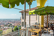 Bergamo: the  upper town is almost, usually packed with tourists from all around the world is almost empty