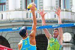Jure Peter Bedrac vs David Cuk at Beach Volleyball Challenge Ljubljana 2014, on August 1, 2014 in Kongresni trg, Ljubljana, Slovenia. Photo by Matic Klansek Velej / Sportida.com