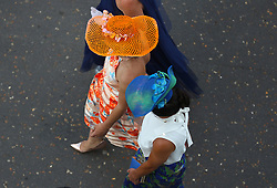 Racegeors wearing hats during ladies day of the 2018 Investec Derby Festival at Epsom Downs Racecourse, Epsom.