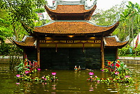 Traditional water puppet show at the Performing Arts Revival Theatre at the Vietnam Museum of Ethnology. Vietnamese water puppetry was originated in the villages of the Red River Delta area of northern Vietnam a thousand years ago.  A Water Puppet Show is the unique art performed in a pool of water with the water surface being the stage. The puppeteers control the puppets with long bamboo rods behind a split-bamboo screen. A traditional Vietnamese orchestra provides background music accompaniment. Hanoi, northern Vietnam.