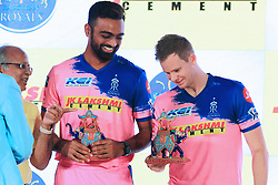 March 22, 2019 - Jaipur, Rajasthan, India - Rajasthan Royals players Jaydev Unadkat ,Steve Smith during the team jersey unveiled ceremony ahead the IPL 2019 matches  in Jaipur, Rajasthan, India  on March 22,2019. (Credit Image: © Vishal Bhatnagar/NurPhoto via ZUMA Press)