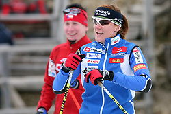 Slovenian cross-country skier Petra Majdic (at left Lukas Bauer) at Alpina presentation of new cross-country shoes with red dot award: product design, on April 24, 2008, in Pokljuka, Rudno polje, Slovenia.  (Photo by Vid Ponikvar / Sportal Images)/ Sportida)