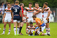 Bradford Bulls winger Johnny Campbell (19) receives treatment during the Kingstone Press Championship match between Swinton Lions and Bradford Bulls at the Willows, Salford, United Kingdom on 20 August 2017. Photo by Simon Davies.
