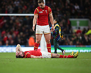 Wales George North looks to console Wales Alex Cuthbert during the Rugby World Cup Quarter Final match between South Africa and Wales at Twickenham, Richmond, United Kingdom on 17 October 2015. Photo by Matthew Redman.