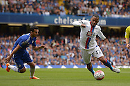 Jason Puncheon of Crystal Palace runs past Pedro of Chelsea. Barclays Premier League, Chelsea v Crystal Palace at Stamford Bridge in London on Saturday 29th August 2015.<br /> pic by John Patrick Fletcher, Andrew Orchard sports photography.